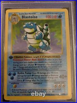1999 Pokemon Game 1st Edition Shadowless Holo Blastoise #2 PSA 5 EX