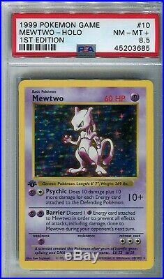 1999 Pokemon Game Base 1st Edition Holo Mewtwo #10 PSA 8.5 NM/MT+ POPULATION 13