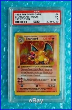 1999 Pokemon WOTC 1st Edition Base Set Shadowless CHARIZARD Holo #4 PSA-5