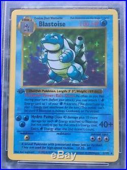 1ST EDITION SHADOWLESSBlastoise 2/102 Base Set MINT PSA 9 Holo Pokemon Card
