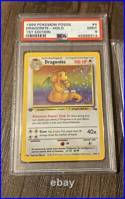 1st Edition Dragonite 4/62 PSA 9 MINT Fossil Holo AND Non Holo Pokemon Bundle