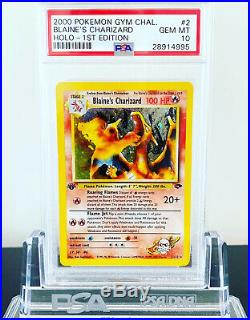 2000 Pokemon Gym Challenge, Blaines Charizard Holo, 1. Edition, PSA 10 GEM MINT