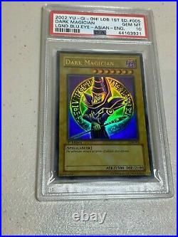 2002 Dark Magician 1st Edition YuGiOh Card LOB-005 Asian English GEM MINT PSA 10