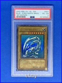 2002 SDK Yu-Gi-Oh! BLUE EYES WHITE DRAGON 1st Edition #001 PSA 4 VG-EX