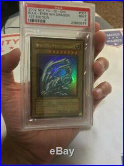 2002 Yu-Gi-Oh! 1st Edition Blue-Eyes White Dragon SDK-001 Ultra Rare PSA 9 MINT