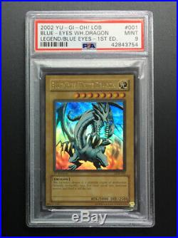 2002 Yu-Gi-Oh Blue Eyes White Dragon LOB-001 1st Edition PSA 9 Mint English
