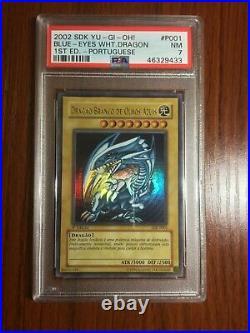 2002 Yu-Gi-Oh! Blue-Eyes White Dragon SDK-001 DIK-P001 1st Edition Ultra R PSA 7