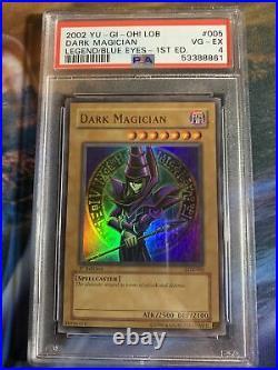 2002 Yu-Gi-Oh! LOB 1st Edition Dark Magician Legend/Blue-Eyes #LOB-005 PSA 4