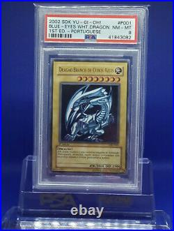 2002 Yugioh Blue-Eyes White Dragon sdk-001 dik-p001 1st Edition Ultra R PSA 8