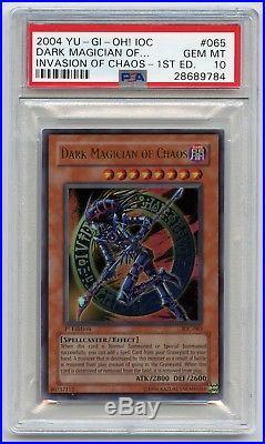 2004 Yu-Gi-Oh 1st Edition Dark Magician of Chaos IOC-065 Ultra Rare PSA 10 MINT