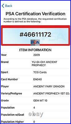 2009 Yugioh ANCIENT FAIRY DRAGON ANPR-EN040 1st Edition Ultra Rare PSA 10! POP 4