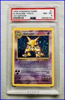 Alakazam 1st Edition Shadowless Base Set 1/102 Ultra Rare Holo Card PSA 8 NM/MT
