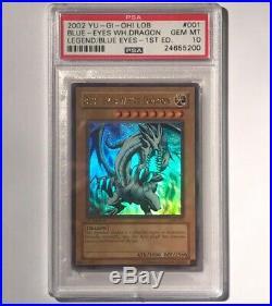 Blue-Eyes White Dragon LOB-001 Ultra Rare 1ST EDITION PSA 10 GEM MINT HOLY GRAIL