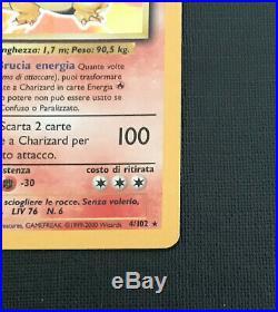 Charizard Holo Italian Version Mint Conditions Ultra Rare Basic Set No 04/102