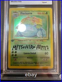 Florizarre Edition 1 Signed Mitsuhiro Arita 15/102 Set Base Pokemon FR PCA PSA