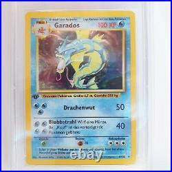 Garados 1 Edition Holo 1999 Pokemon Base Deutsch STARKE PSA 9 MINT 151 weltweit