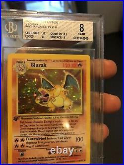 Glurak / Charizard Holo 1. Edition Deutsch 4 / 102 Base Set PSA / BGS 8 NM-Mint