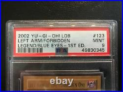 Left Arm of the Forbidden One LOB-123 Ultra Rare 1st Edition PSA Graded 9 Mint