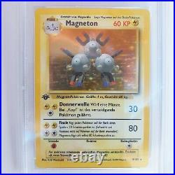 Magneton 1 Edition Holo Pokemon Base Set Deutsch STARKE PSA 9 MINT 149 weltweit