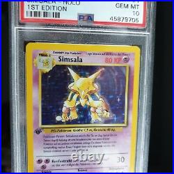 PSA 10 GEM MINT 1 Edition Simsala / Alakazam Deutsch Pokemon Base 36 weltweit