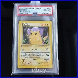 PSA 10 GEM MINT Pikachu Deutsch 1 Edition 1999 Pokemon Base nur 170 weltweit
