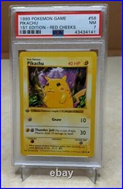 PSA 7 Graded 1st Edition Shadowless Red Cheeks Pikachu 1999