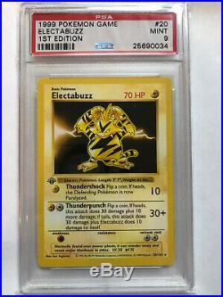 PSA 9 1st Edition Electabuzz Base Pokemon Card Set Gem Mint WOTC Ultra Rare
