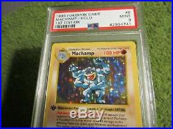 PSA 9 1st Edition Shadowless Base Holo Machamp 8/102 in MINT Condition