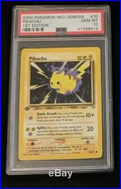 Pikachu 70/111 1st Edition PSA 10 GEM MINT Neo Genesis Pokemon card WOTC