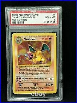 Pokemon Card 1st Edition Shadowless Charizard Base Set 4/102, PSA 6 EX-MT
