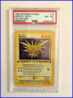 Pokemon Fossil #15 Zapdos-Holo 1st Edition PSA 8