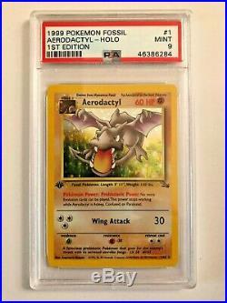 Pokemon Fossil #1 Aerodactyl-Holo 1st Edition PSA 9