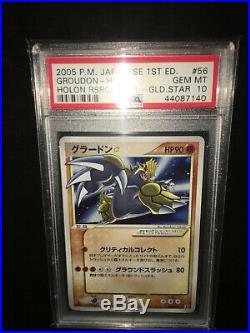 Pokemon Japanese Groudon 1st Edition Gold Star PSA 10