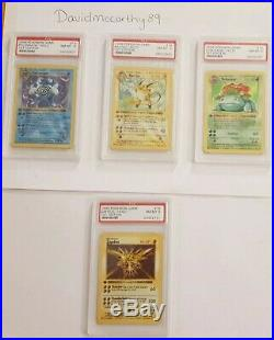 Pokemon complete First Edition Shadowless Base Set Holos PSA Graded Including