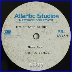 ROLLING STONES Ultra Rare MISS YOU (Disco Version) 12 ACETATE From Manager