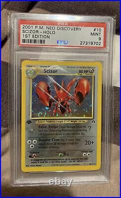 Scizor 1st Edition Neo Discovery 10/75 Ultra Rare Holo Card PSA 9 MINT