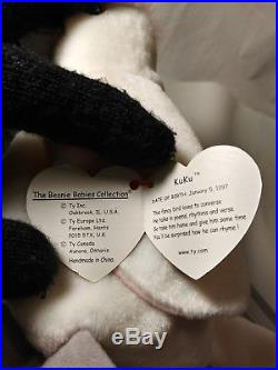 Ty Beanie Babies Retired KUKU w ULTRA RARE WHITE STAR Tag Error PVC 1st EDITION