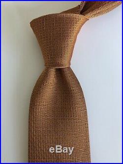 ULTRA RARE New Hermes Paris Tie Burnt Orange H Pattern Ltd Edition
