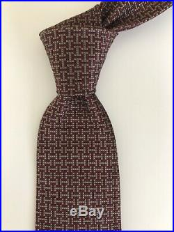 ULTRA RARE New Hermes Paris Tie Maroon/Grey H Pattern ANY WAY Ltd Edition