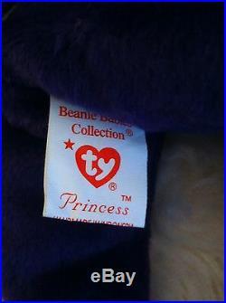 Ultra Rare 1997 TY Princess Diana Beanie Baby Bear PE Pellets. 1st Edition