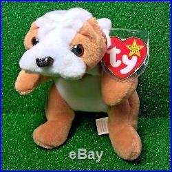 Ultra-Rare 1st Edition Ty Beanie Baby Wrinkles The Bulldog Retired 3rd Gen PVC