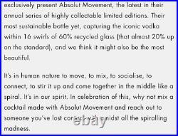 Ultra Rare 2020 Absolut Vodka Movement EMPTY Bottle Limited Edition Blue Glass