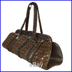 Ultra Rare Auth BOTTEGA VENETA Intrecciato Limited Edition Hand Bag Brown 32B337