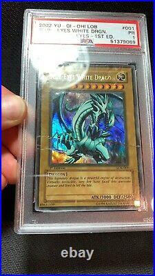 WAVY PSA 1 Blue Eyes White Dragon 1st Edition LOB-001 NA English UR Yugioh Card