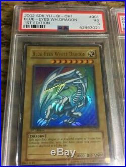 YuGiOh Blue-Eyes White Dragon SDK-001 Dark Magician SDY-006 1st Edition PSA 3/4
