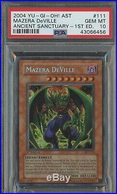 YuGiOh Mazera Deville 1st Edition PSA 10 GEM MINT AST-111 Secret Rare Holo Foil