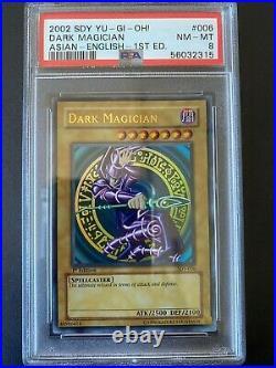 YuGiOh PSA 8 NM MT SDY-006 1st Edition Ultra Rare Dark Magician ASIAN ENGLISH