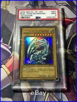 YuGiOh PSA 9 Blue Eyes White Dragon SDK-001 1st Edition Ultra Rare MINT Holo