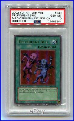 Yu-Gi-Oh! 1st Edition Magic Ruler Ultra Rare Delinquent Duo MRL-039 PSA 10 MINT