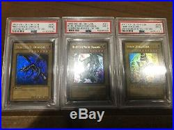 Yu-Gi-Oh Blue Eyes Red Eyes Dark Magician LOB USA 1st Edition PSA 9 3 Card Set